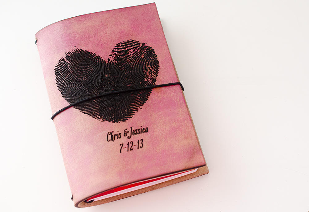 Custom Traveler's Notebook Cover // Thumbprint Love Anniversary Date // Field Notes Pocket Size // Fits 3.5 x 5.5 inserts