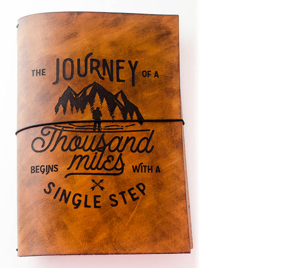 Custom Traveler's Notebook Cover //A5 (5.8 x 8.25) // The Journey of a Thousand Miles Begins With a Single Step