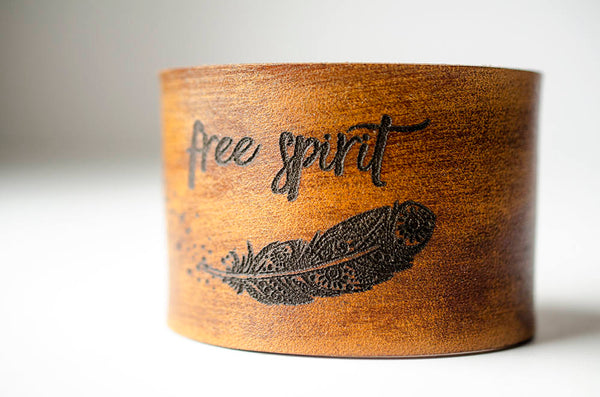 Free Spirit Boho Feather - Leather Cuff