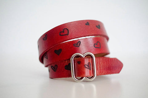 Hand Drawn heart Wide Wrap Bracelet