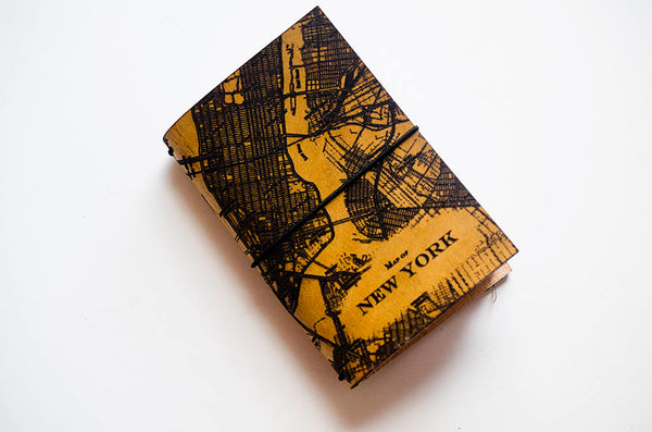 "Custom Traveler's Notebook Cover // Map of New York City // Custom Map GPS Location // Passport Size fits 3x4"" inserts"