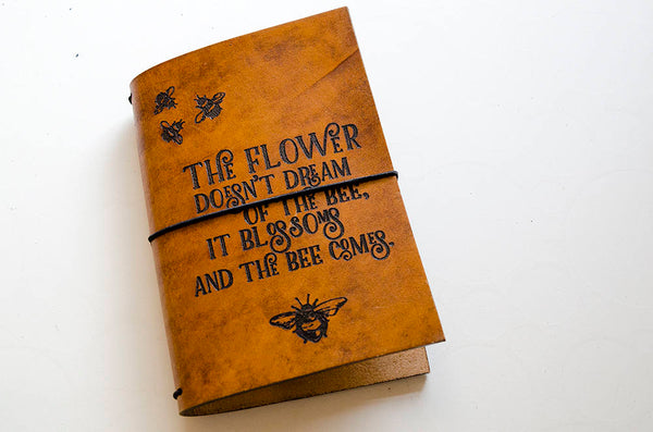 Custom Traveler's Notebook Cover // The flower doesn't dream of the bee // Field Notes Pocket Size // Fits 3.5 x 5.5 inserts