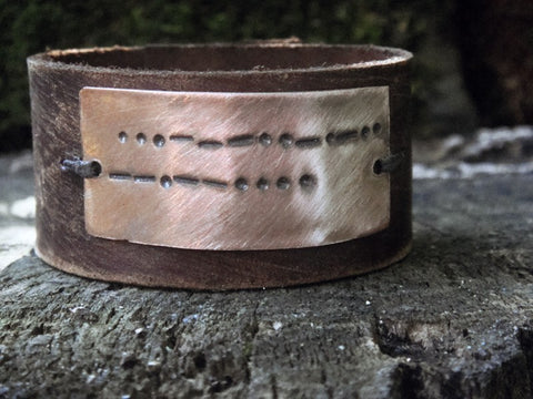 Soul Mates Distressed Secret Message Leather Cuff - Morse Code