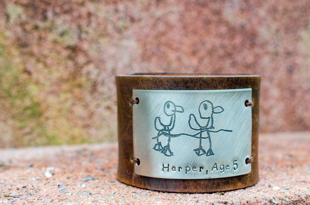 Kid Art Custom Engraved Leather Cuff