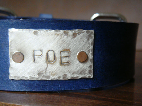 Leather Dog Collar with Hand Stamped Metal Plate