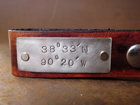 Personalized Leather Key Chain Accessory, Anniversary Gift, Custom Keychain, Wedding Gift, Latitude and Longitude Custom Leather Keychain