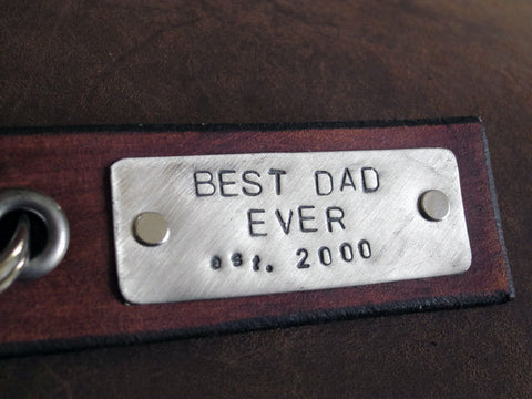 Best Dad Ever - Leather Tag Keychain