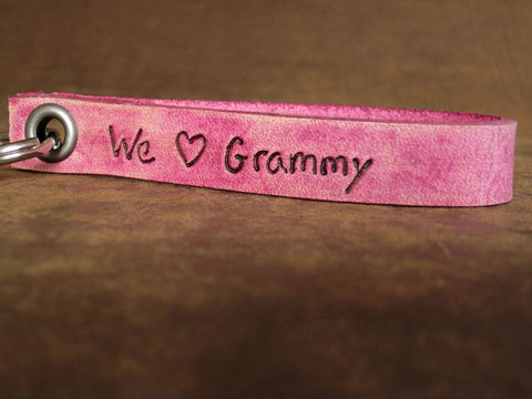 We Love Grammy Custom Leather Keychain