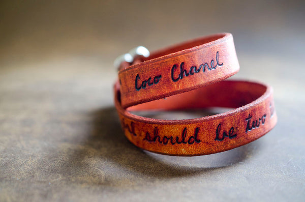 A Girl Should Be... Coco Chanel Quote on Double Wrap Leather Bracelet