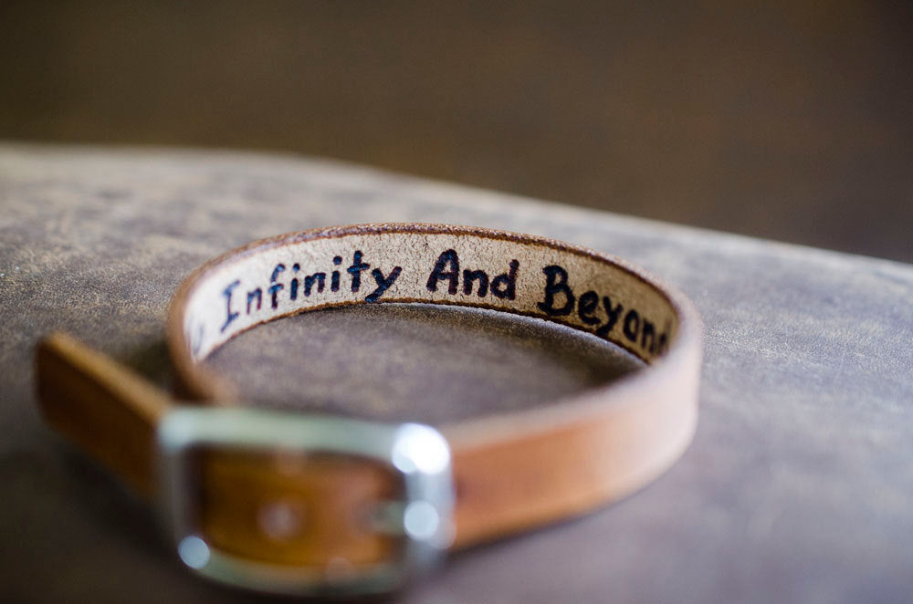 Leather Buckle Hidden Message Cuff - To Infinity and Beyond