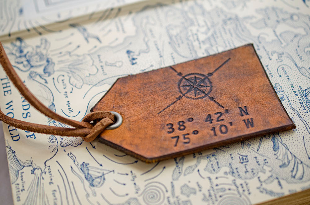 Compass Rose with Your Custom Latitude & Longitude - Leather Luggage Tag