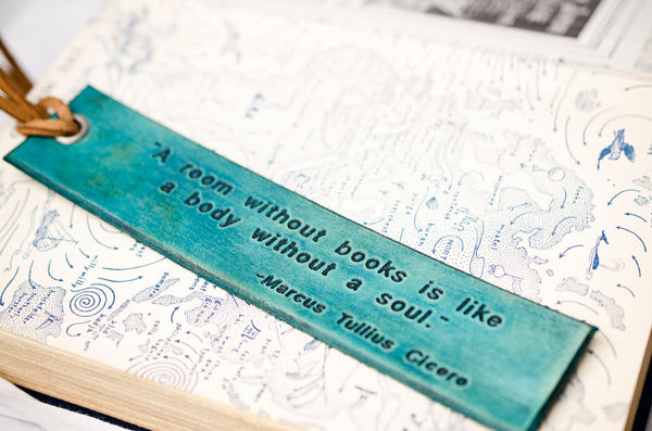 A room without books is like a body without a soul - Engraved Leather Bookmark
