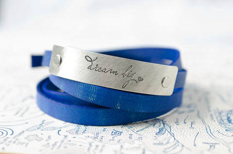 Dream Big  Adjustable Leather Wrap Bracelet