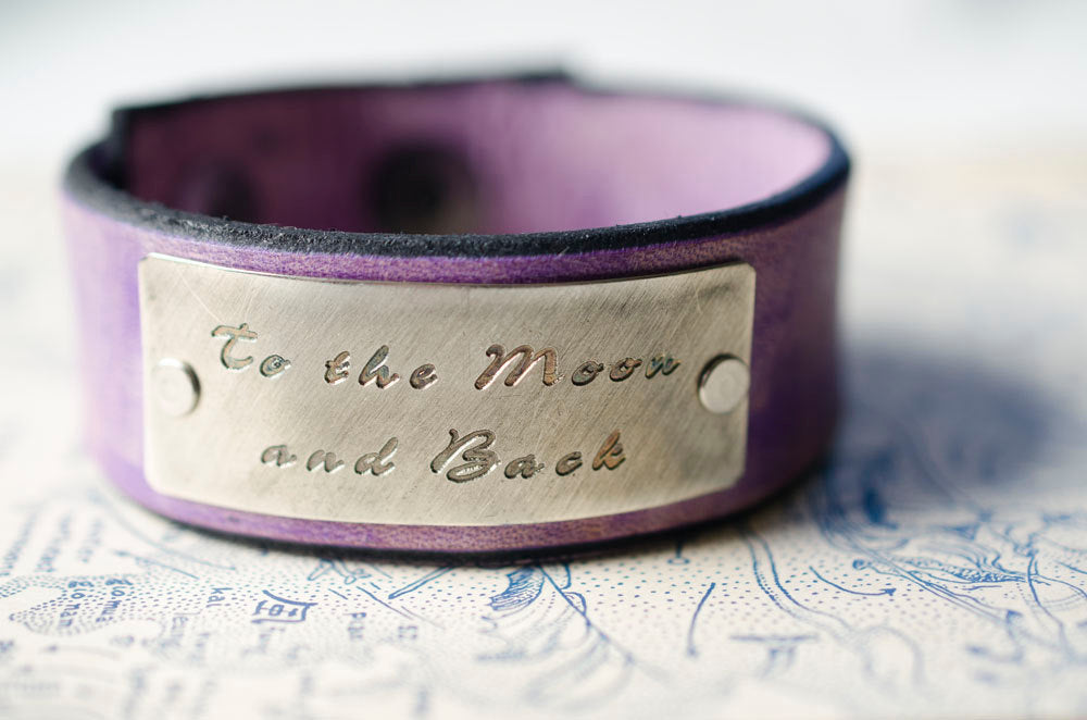 To the Moon and Back - Adjustable Leather Snap Cuff