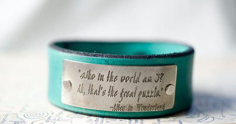 Who am I Alice in Wonderland - Leather Cuff