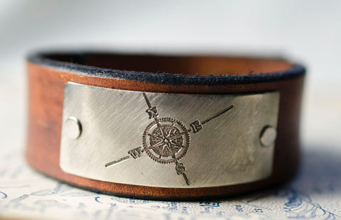 Compass Rose Leather Snap Cuff