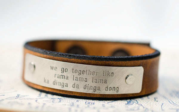We Go Together Like - Grease Lyrics -  Leather Snap Cuff