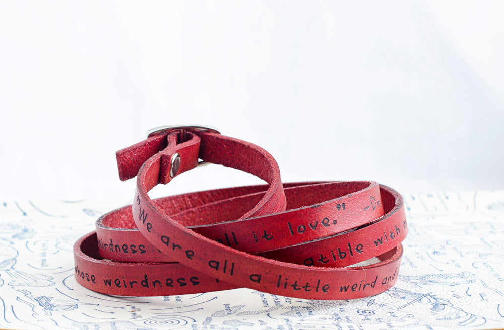 Dr. Seuss Weirdness Love Quote on Ultra Long Leather Wrap Bracelet