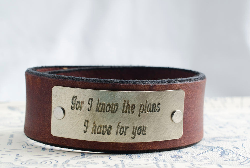 For I know the plans I have for You -  Leather Bracelet with Custom Bible Verse