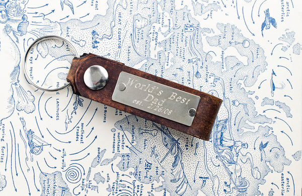 Worlds Best Dad - Custom Leather Keychain