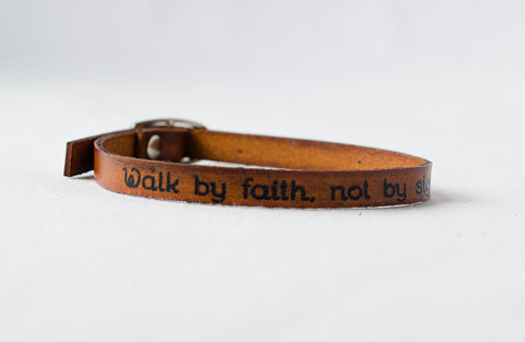 Walk by Faith, Not by Sight - Single Wrap Bracelet