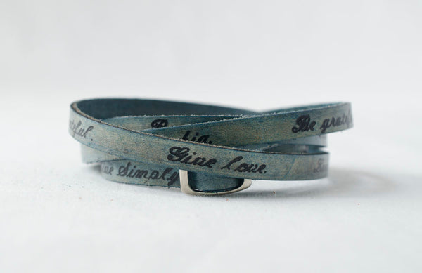 Live Simply. Dream big. Be grateful. Give love. Laugh lots- Ultra Long Leather Wrap Bracelet