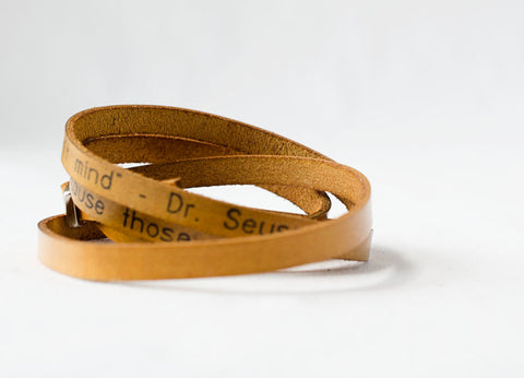 Those Who Matter Don't Mind - Dr. Seuss Ultra Long Hand Carved Custom Quote Leather Wrap Bracelet