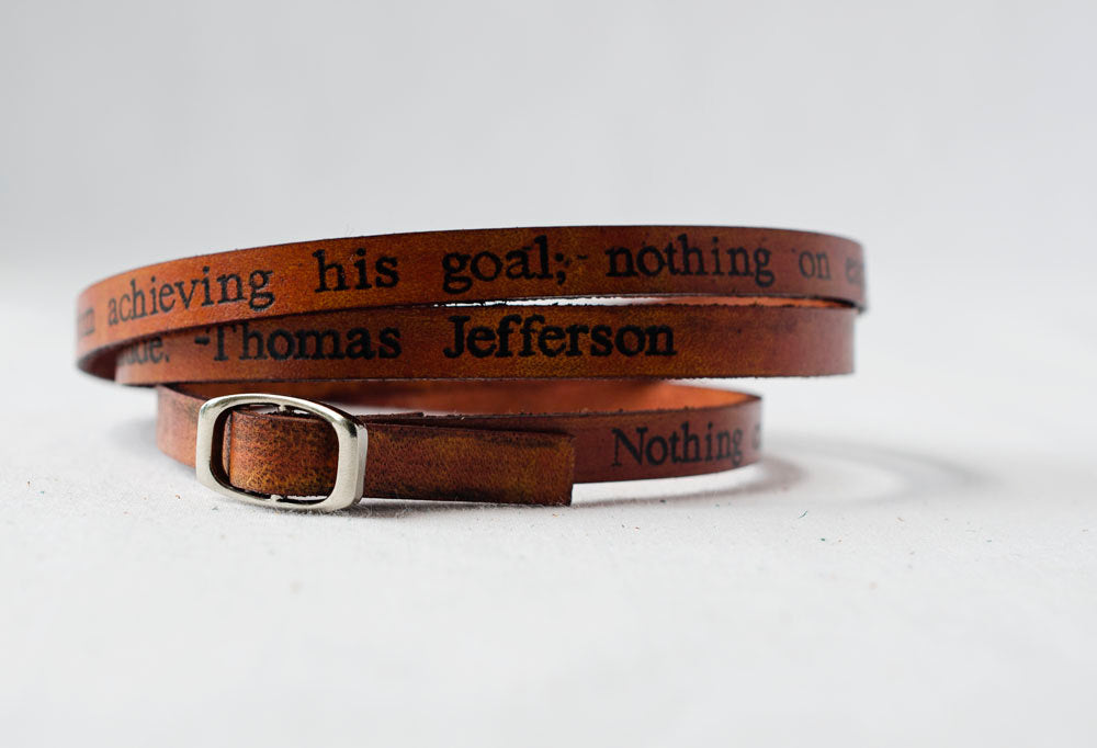 Thomas Jefferson Quote on Ultra Long Leather Wrap Bracelet
