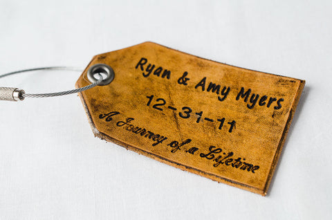 Journey of a Lifetime, Leather Luggage Tag for Newlyweds - Set of Two