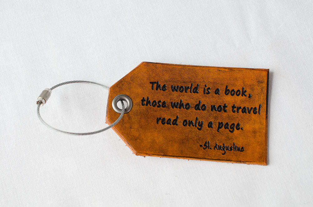 -The World is a Book - Leather Luggage Tag