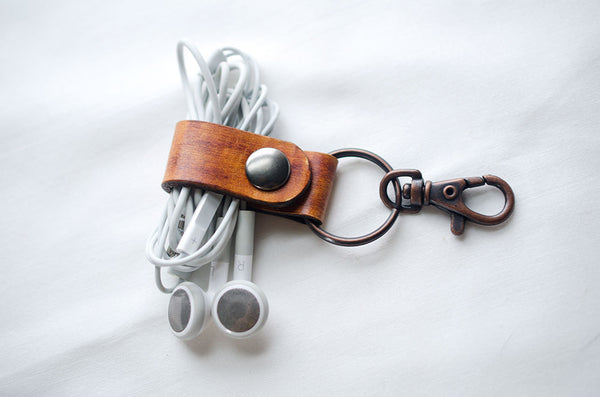 Leather Earbud Holder Keychain