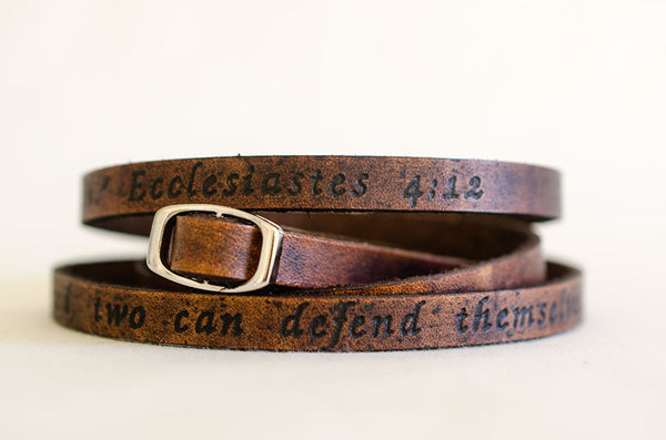 Ecclesiastes 4:12 Custom Scripture Ultra Long Leather Wrap Bracelet