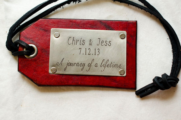 Journey of a Lifetime,  Leather Travel Tag for Newlyweds - Set of Two