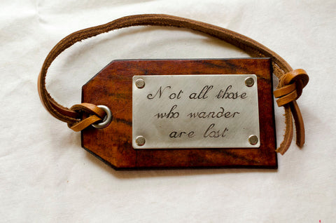 Not all those who wander are lost - Tolkien - Leather Luggage Tag