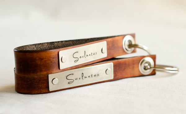 Soulmates Set of Two Leather Key Chains