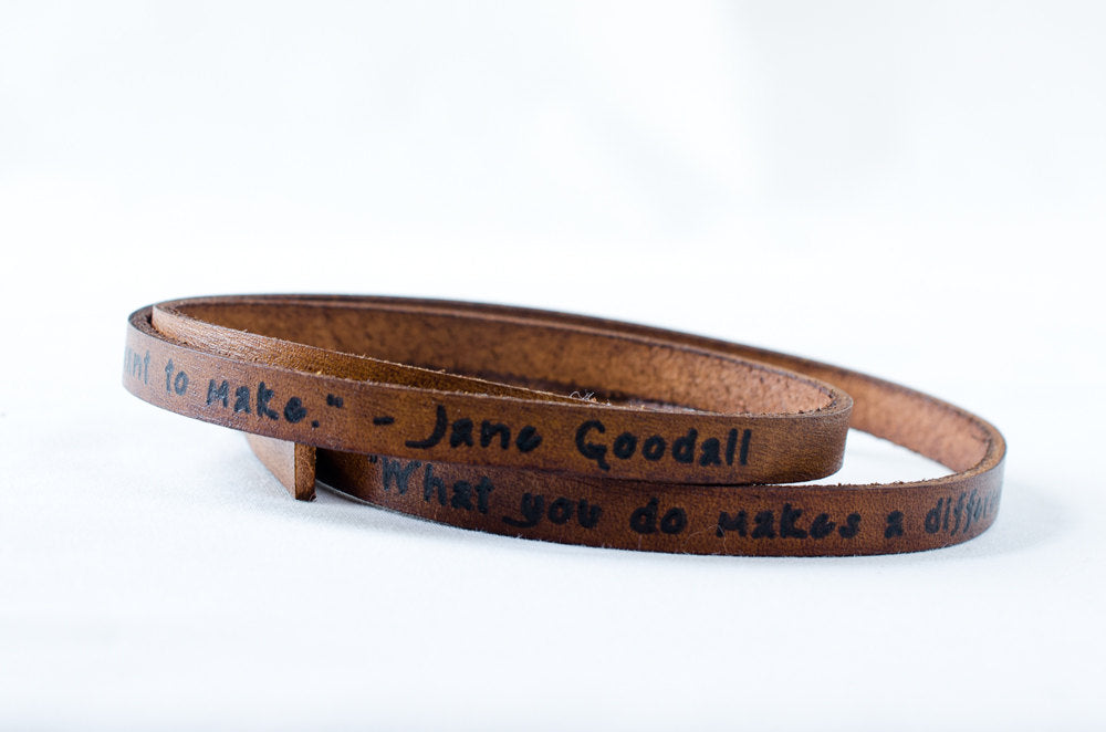 Make a Difference Jane Goodall - Ultra Long Leather Wrap Bracelet