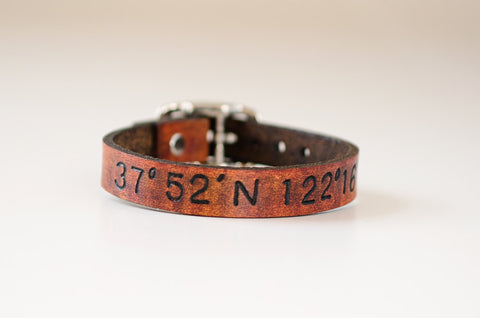 Skinny Latitude and Longitude Leather Cuff with Adjustable Buckle