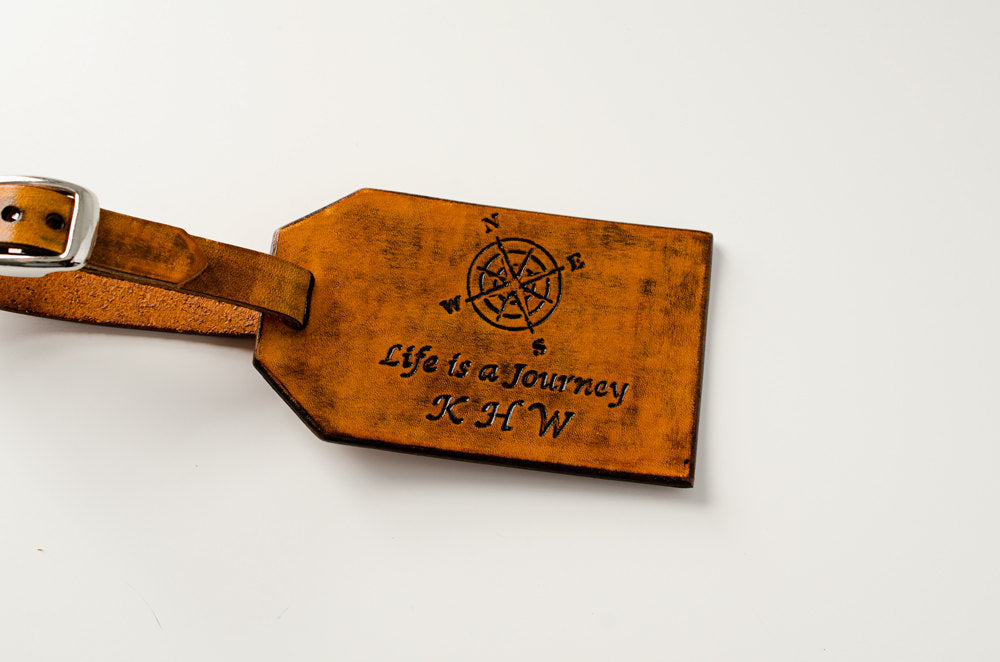 Compass Rose with Custom Latitude Longitude- Leather Luggage Tag