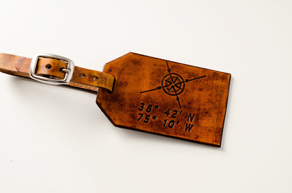 Travel Leather Luggage Tag, Custom Leather Tag, Personalized Luggage Tag, Compass Rose Latitude Longitude- Hand Carved Leather Luggage Tag