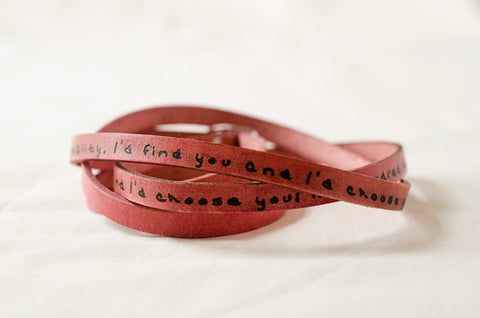 I'd Choose you In a Hundred Lifetimes -Ultra Long Leather Wrap Bracelet