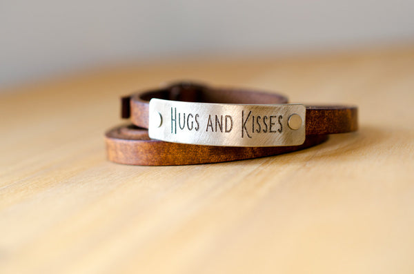 Hugs & Kisses - Leather Wrap Bracelet