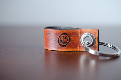 Emoji Mini Loop Leather Keychain