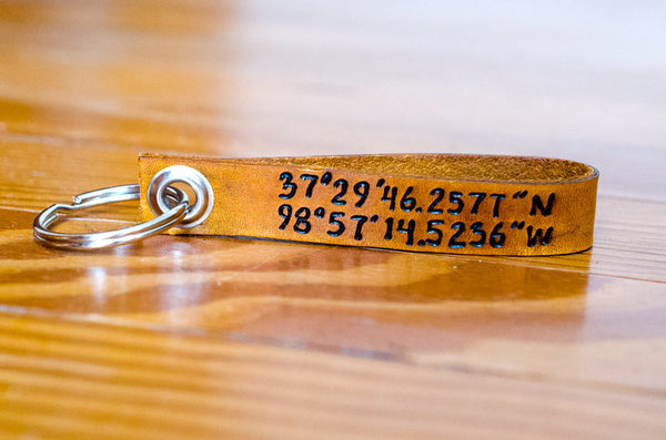 Latitude and Longitude - Leather Keychain
