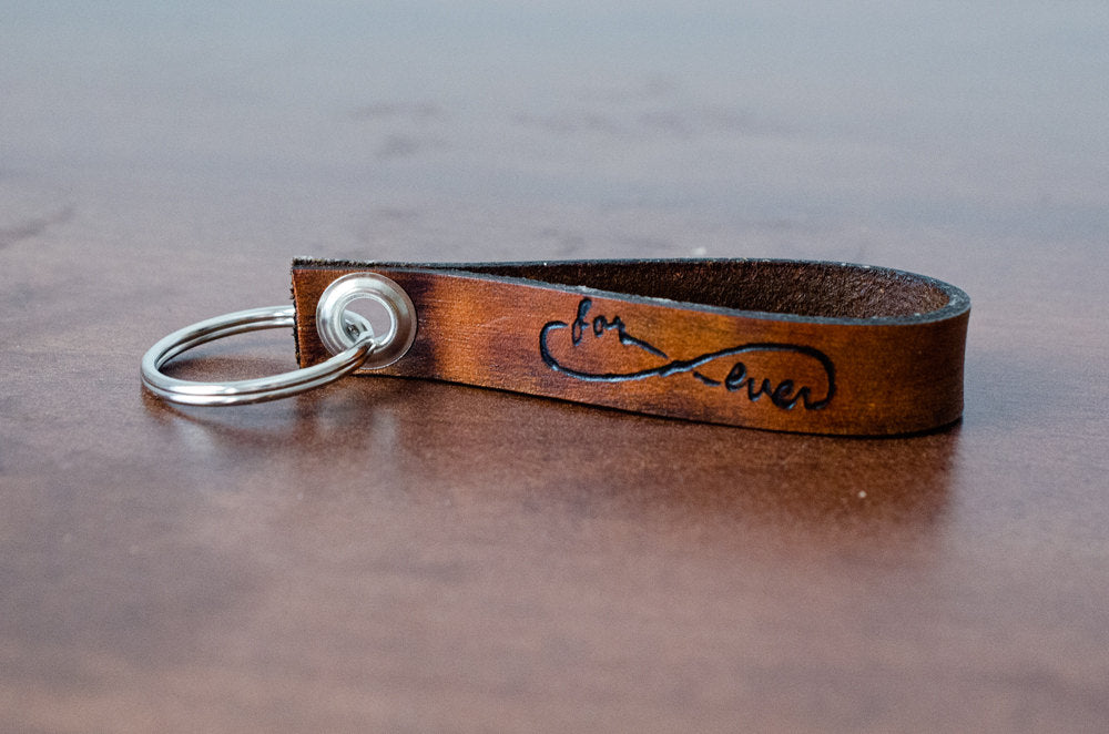 Forever Love Infinity Custom Leather Keychain