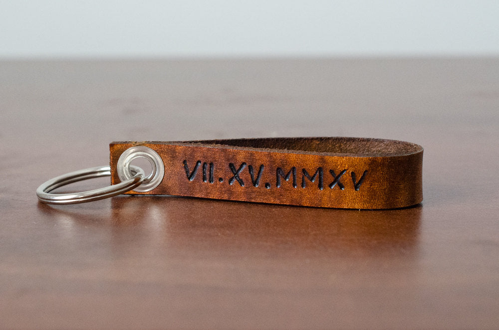Custom Roman Numerals Date Leather Keychain