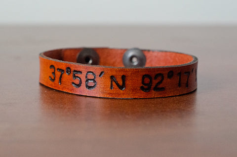Custom Latitude and Longitude Leather Cuff