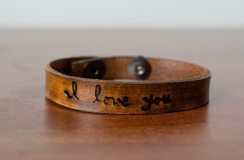Skinny I Love You Leather Cuff