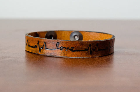 Skinny Heartbeat Lifeline with Love - Leather Cuff