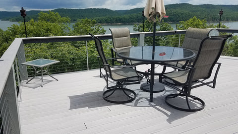 Cable railing on Table Rock Lake with wood posts