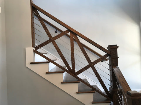 Cable railing X bracing interior stairs with swageless fittings